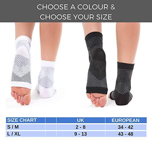 FIT NATION - (2 Paar Kompressionssocken/Fußgelenk Bandage für effektive Kompression beim Laufen & Sport - Kompressionsstrümpfe für Damen & Herren Schwarz S/M - 6