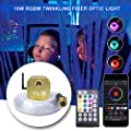 AKEPO Fiber Optic Sensory Lights for Sensory Room Autism Children, 16W Twinkle RGBW+Bluetooth App Control+Music Activated Fiber Optical Light Engine with 9.8ft/3m 50pcs (3x0.75mm) Flash Point Cable
