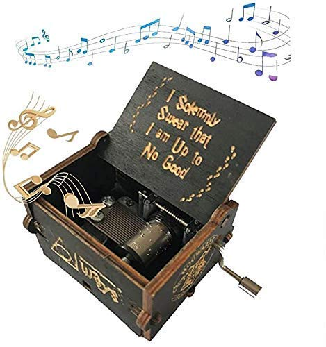 GUOSHUFANG Boîte à Musique en Bois à manivelle 6.4 * 5.2 * 4.2 cm pour Les Cadeaux de Vacances d'anniversaire de fête commémorative de Voyage Harry Potter Noir