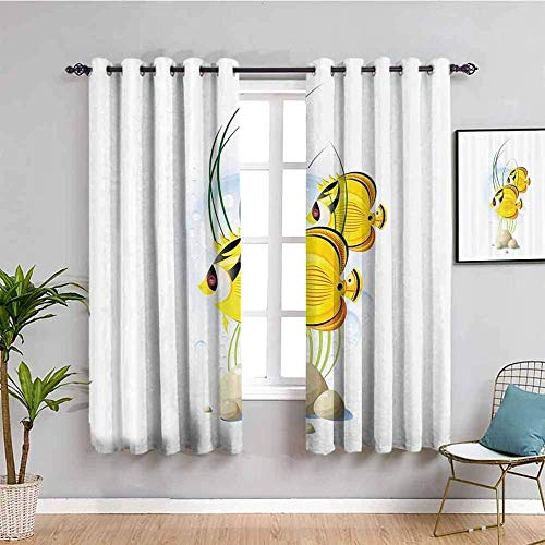 MENGBB Blackout Curtain for Kids Girls Microfiber - White cartoon tropical fish cute - Thermal Insulated 90% Blackout - 110x102 inch Kitchen Bedroom Living Room Window Eyelet Curtains