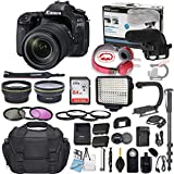 Canon EOS 80D DSLR Camera Bundle with Canon EF-S 18-135mm f/3.5-5.6 is USM Lens + Professional Video Accessory Bundle Includes ECKO Headphones, Microphone, LED Video Light and More. (28 Items)