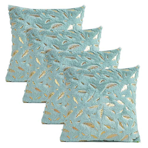 Gonove 4 Pack - [Just Covers] 45×45cm Pillow Case Feather Series Soft Plush Faux Fur Square Throw Pillow Covers Decorative Cushion Covers Case for Sofa,Bed (Blue-Feather)