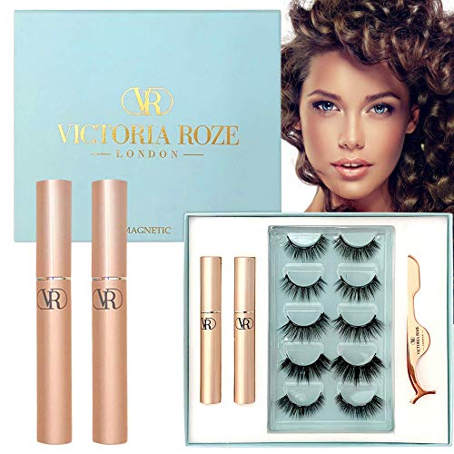 Victoria Roze Magnetic Eyelashes with Eyeliner – 3D Mink False Eyelashes for Dramatic Look- Realistic and Soft Fake Eyelashes - Reusable and Easy to Apply - Strong Hold - Exquisite - Present for Her