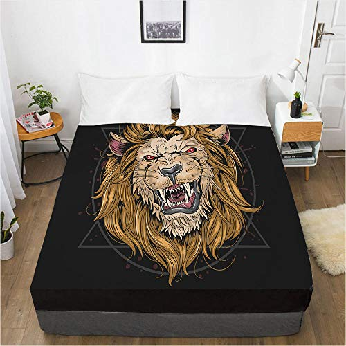 HNLHLY Mattress Protector Double 3D Digital Home Textiles Bed Sheet Bed Cover Mattress Protective Cover Animal-Animal 102-Black-F_152X203X40Cm