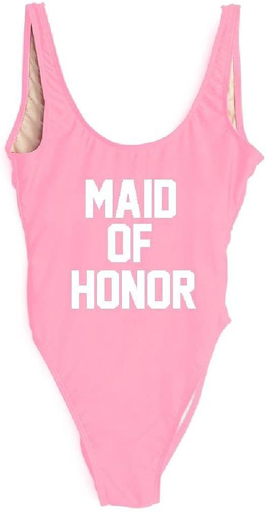 HK One Piece Swimsuit Maid Sexy Honor Letter Print High Cut Monokini Bodysuit Bathing Beachwear