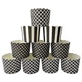 Paper Baking Cups 90-Pack Large 6 Oz Greaseproof Baking Cups Cupcake Muffin Cases Disposable Cupcake Wrappers For Birthday Baby Shower And Party Decorations-Black Vertical Polka Dot And Quadrafoil