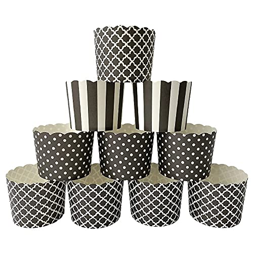 Paper Baking Cups 90-Pack 6 Oz Greaseproof Baking Cups Cupcake Muffin Cases Disposable Cupcake Wrappers For Birthday Baby Shower And Party Decorations-Black Vertical Polka Dot And Quadrafoil