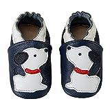 [page_title]-HMIYA Weiche Leder Krabbelschuhe Babyschuhe Lauflernschuhe mit Wildledersohlen für Mädchen und Jungen(12-18 Monate,Blau)