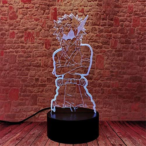 MHA Katsuki Bakugo Anime 3D-Lampe Beleuchtung LED USB und Fernbedienung RQGPX Nachtlicht Beste Geschenke für Kinder Jungen zum Geburtstag oder Weihnachten