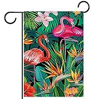 ウェルカムフラワーリースガーデンフラッグヤード両面エキゾチックな熱帯の花 パティオ芝生の家の屋外の装飾の春のための庭の花の旗
