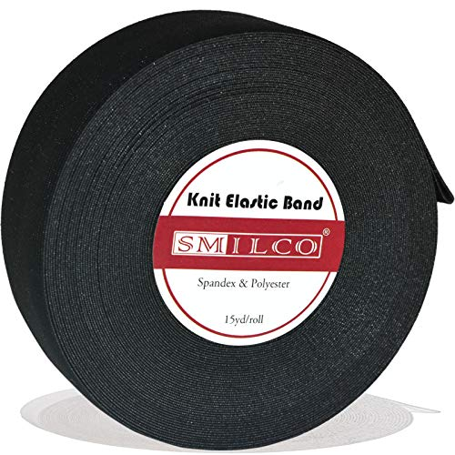Elastic Bands for Sewing, (1.5inch x 15Yard) Smilco Spandex Ultra-thin Elastic Band Spool for Wigs Making Pants Sportswear Skirts
