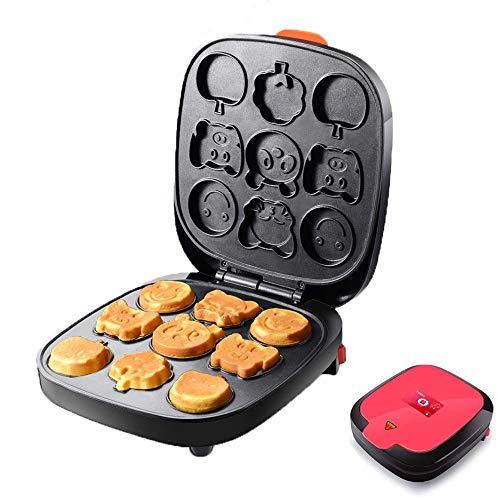UYZ Waffeleisen mit 9 Cartoon-Formen für Kinder, Kuchen- / Waffeleisen: Multifunktionaler Snack-Hersteller mit Antihaft-Platten und Kabelwickel und Cool-Touch-Griff für Zuhause/Küche, A.