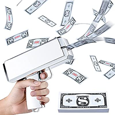oMitoi Money Gun Shooter, Prop Gun with Prop Money(200 Pieces), Toy Gun Make it Rain for Party, Prop Guns for Movies That Look Real (Metallic Silver) from oMitoi