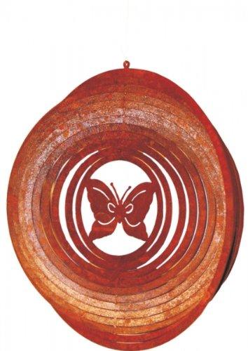 Rostikal Windspiel mit Schmetterling/Wohn- oder Gartendeko aus Metall/Edelrost - 2