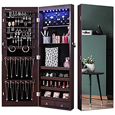 Nicetree 8 LED Mirror Jewelry Cabinet, Jewelry Armoire Organizer with Full Screen Mirror, Wall/Door Mounted, Full Length Mirror