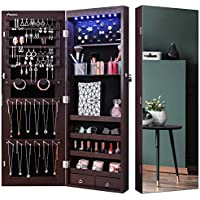Nicetree 8 LED Mirror Jewelry Cabinet with Full Screen Door Mounted (Brown)