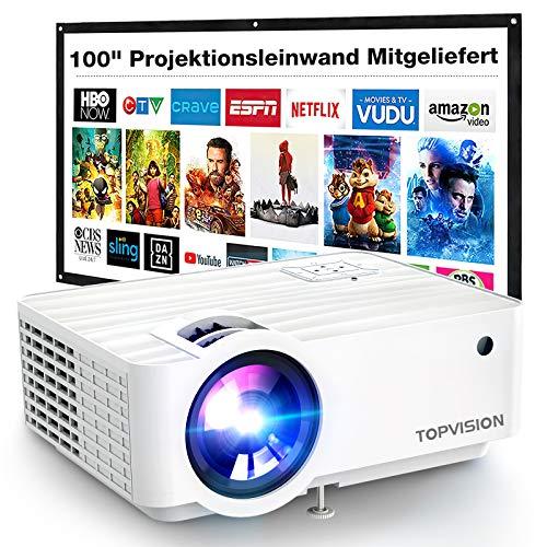 Beamer, TOPVISION 720P Mini Heimkino Beamer 5500 Lux Heimprojektoren mit 100 Zoll Leinwand, Unterstützt 1080P FHD, Projektor Eingebaute HiFi Lautsprecher kompatibel mit Fire Stick, HDMI, VGA, USB, TF