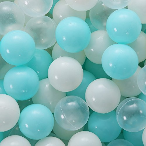 PlayMaty 100 Pieces Colorful Pit Balls Phthalate Free BPA Free Plastic Ocean Balls Crush Proof Stress Balls for Kids Playhouse Pool Ball Pit Accessories 2.1 Inches (100 Balls-Light Blue) …