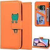 DodoBuy Hülle für Xiaomi Poco F2 Pro, Cartoon Tiere Muster Magnetische Flip Cover PU Leder Schutzhülle Handy Tasche Brieftasche Wallet Hülle Ständer mit Kartenfächer - Orange Frosch