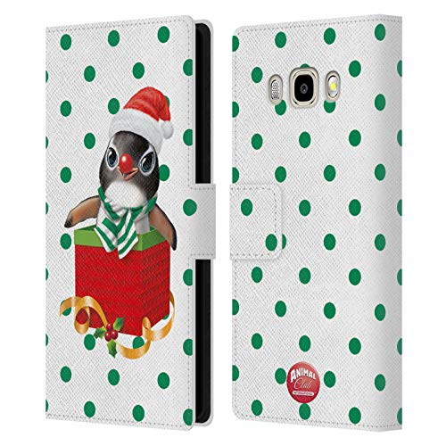 Head Case Designs Ufficiale Animal Club International Pinguino Box Natalizi Cover in Pelle a Portafoglio Compatibile con Samsung Galaxy J5 (2016)