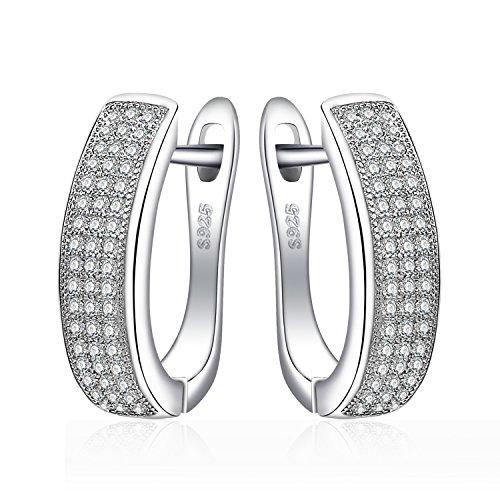 JewelryPalace Pendientes Conjunto de Aro 0.5ct Zirconia Cúbica Aniversario con Canal Eternidad en plata de ley 925