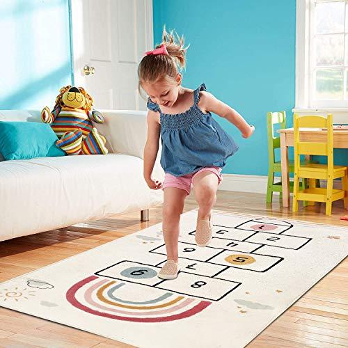 SHACOS Nursery Rug Kids Hopscotch Floor Rug Carpets Baby Crawling Mat Cotton Play Mat Soft Non Slip Children's Area Rug for Boys, Girls, Bedroom, Playroom 80x160 cm