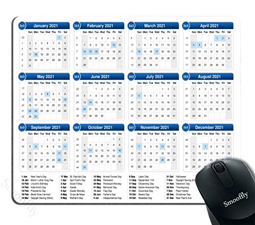 Smooffly 2021 Calendar Mouse Pad Anti-Slip Personalized Rectangle Gaming Rubber Mousepad 9.5 X 7.9 Inch (240mmX200mmX3mm)