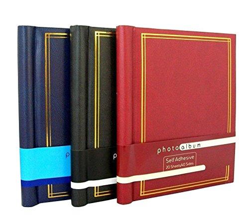3 självhäftande stor fotoalbum höjd 60 ark 120 sidor i svart röd och blå