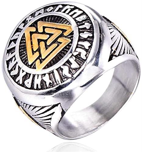 Hombres Acero inoxidable Ring Vikingo Norse Mitología Valknut (Nudo del asesinado) Múltiple Triángulo Símbolo Símbolo Amuleto Joyería Moda Punk Vintage Hip Hop Hop Rock Rock Anillo Partido Anillo de p
