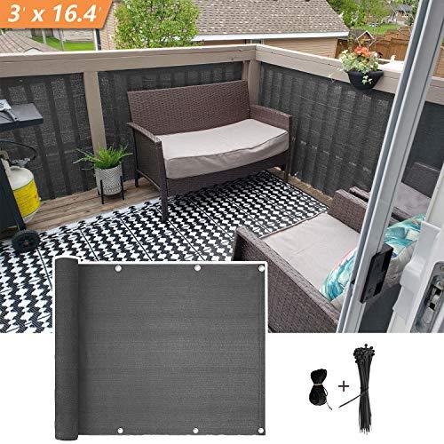 Xatan balkon ondoorzichtig, balkon scherm privacy bescherming HDPE UV-bescherming weerbestendig balkon afdekking met kabelbinders (90x500cm)
