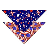 Pohshido 2 Pack 4th of July Dog Bandana, American Independence Holiday Bandanas for Small Medium Large Dogs Cats (Freedom Stars/Old Glory, Small)