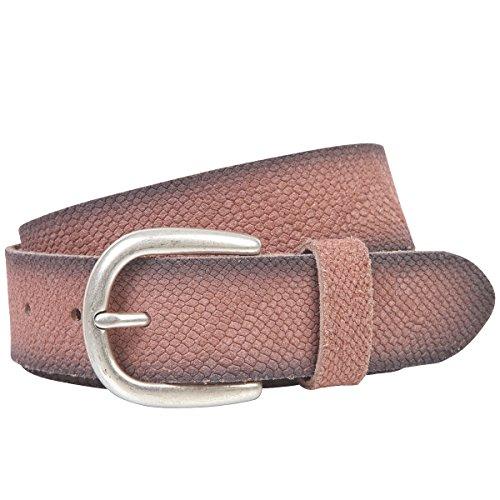 LINDENMANN The Art of Belt Ledergürtel Damen/Gürtel Damen, Rindledergürtel mit Python-Print, old pink, Größe/Size:95, Farbe/Color:rosa