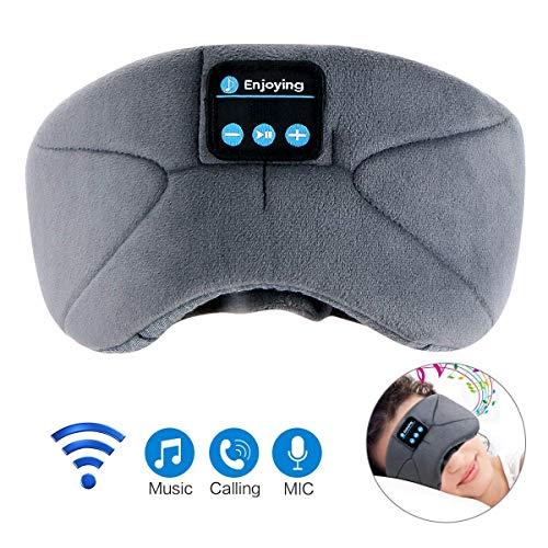 LC-dolida Slaapmasker met bluetooth, met hoofdtelefoon, voor op reis met het vliegtuig, met bluetooth-headset voor iPhone, Android mobiele telefoons, iPad, tablets
