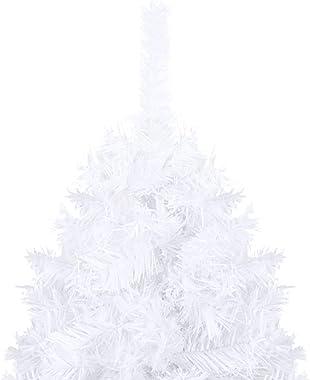 Festnight Sapin de Noël Arbre de Noël Artificiel avec Branches épaisses Blanc 210cm PVC