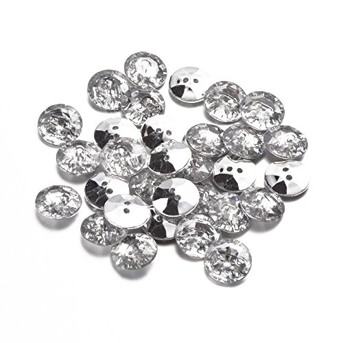 Pandahall 50pcs Acrylic Faceted Crystal Clear Rhinestone Sewing Fastening Buttons 2-Hole with Silver Plated Rivoli Back Hole: 1mm Flat Round 15x4mm