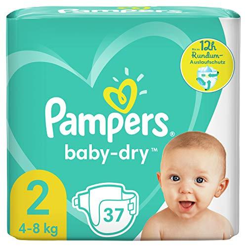 Pampers Baby-Dry Größe 2, 37 Windeln, bis zu 12Stunden Rundum-Auslaufschutz, 4-8kg