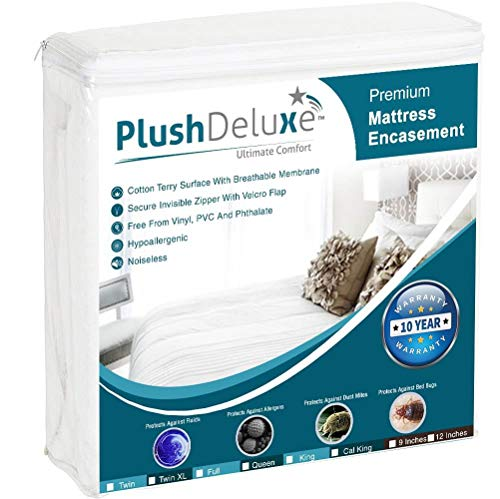 PlushDeluxe Premium Zippered Mattress Encasement, Waterproof, Bed Bug & Dust Mite Proof 6-Sided Protector Cover, Hypoallergenic Cotton Terry Surface (Fits 9-12 Inches H) Full, 10-Year Warranty