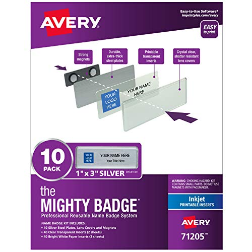 """The Mighty Badge by Avery, 1"""" x 3"""" Silver Name Tags, 10 ID Badges, 80 Inserts for Inkjet Printers (71205)"""