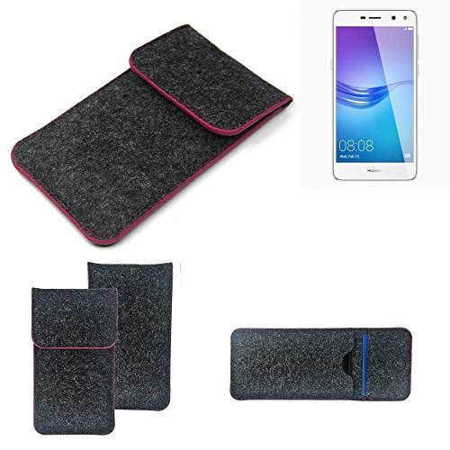 K-S-Trade Filz Schutz Hülle Für Huawei Y6 (2017) Dual SIM Schutzhülle Filztasche Pouch Tasche Hülle Sleeve Handyhülle Filzhülle Dunkelgrau Rosa Rand