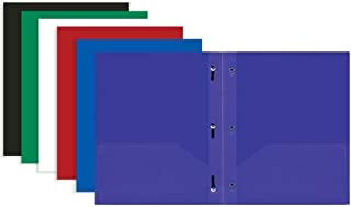 Bazic 2 Pocket Poly Portfolio with Prongs, 11.5 x 9.5 Inches, Assorted Colors, (3 Pack), (3159)