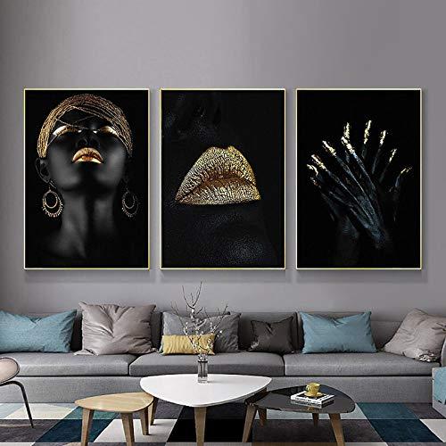 Lienzo pintura moderna sexy mujer negra labios dorados retrato carteles e impresiones arte de la pared para la decoración del hogar vivo 20x30 cm / 7.8'x11.8'sin marco