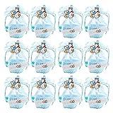 FireAngels 12 piezas DIY Bear Pattern/Cute Duck Cumpleaños Baby Shower Party Favors Basket Candy Box con cintas bautizo niño niña cajas de regalo Blue-Duck
