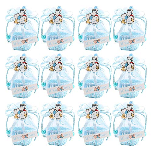 FireAngels 12 piezas DIY Bear Pattern/Cute Duck Cumpleaños Baby Shower Party Favors Basket Candy Box con cintas bautizo niño niña cajas de regalo Blue-Duck