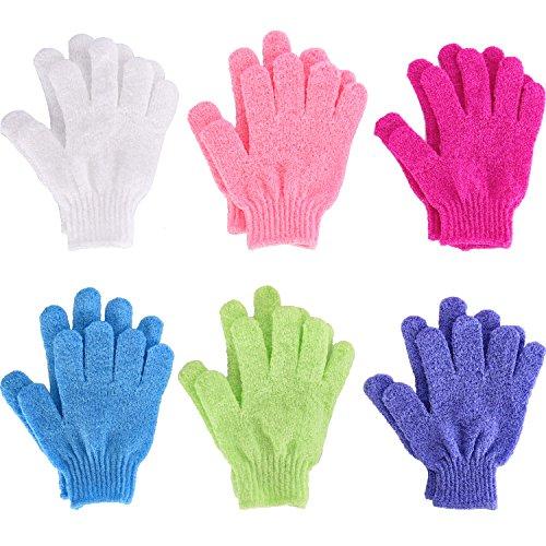 6 Paar doppelseitige Peeling Handschuhe Body Scrubbing Handschuh Bad schrubbt für Dusche, 6 Farben