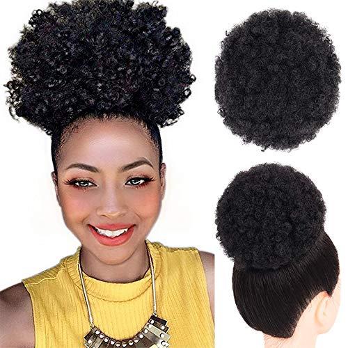 Hohe Puff Afro Lockige Perücke Pferdeschwanz Kordelzug Kurze Afro Verworrene Pony Schwanz Clip in auf Synthetische Lockige Haar Brötchen Gemacht von Kanekalon