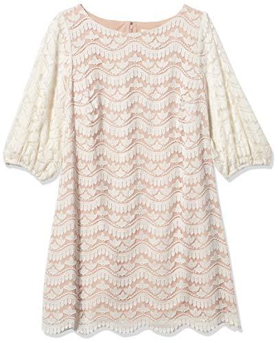 Eliza J Women's Lace Shift Dress with Detailed Hem, Ivory, 22 Plus