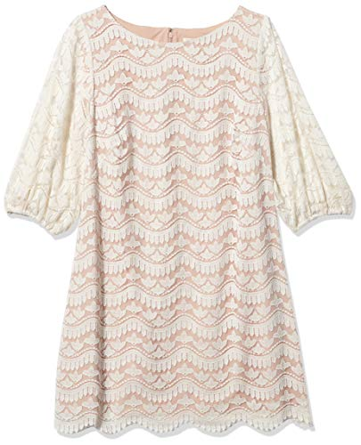 Eliza J Women's Lace Shift Dress with Detailed Hem, Ivory, 14