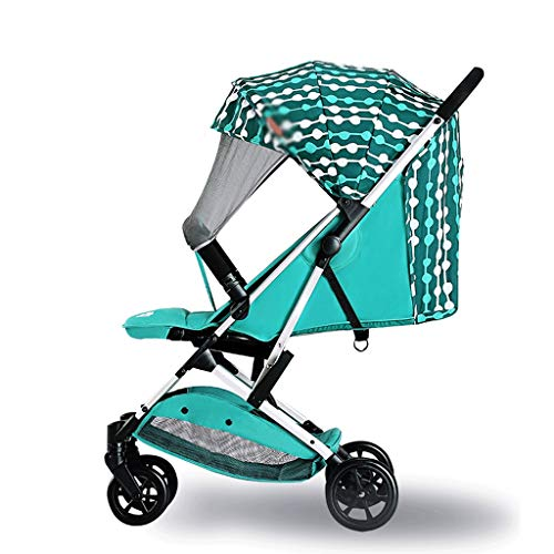 LQW HOME-kombikinderwagen Leichter Kinderwagen kann mit ultraleichtem, kleinem faltbarem, tragbarem 5-Punkt-Sicherheitssystem sitzen (Color : Green, Größe : 40 * 18 * 16 inches)