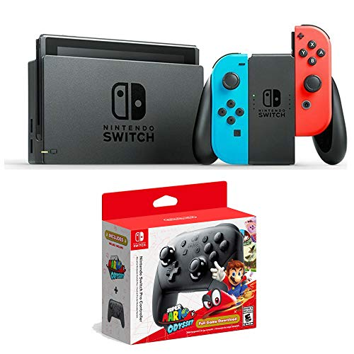 Nintendo Compatible Wireless Controller Super Mario Odyssey, Nintendo Switch Console, Neon Red/Neon Blue Joy-Con,Bundle Nintendo Pro Wireless Controller & Super Mario Odyssey Game