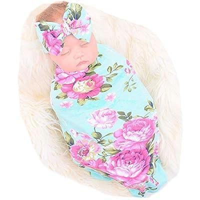 Newborn Receiving Blanket Headband Set Flower Print Baby Swaddle Receiving Blankets Galabloomer from